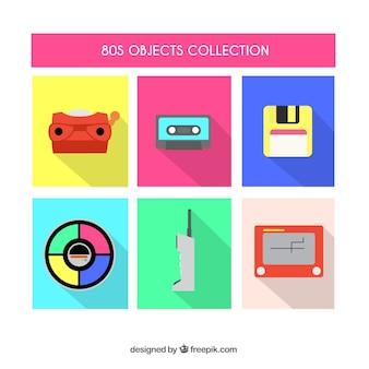 Sammlung von flachen achtziger objekte