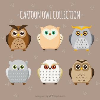 Sammlung von flachen cartoon eulen