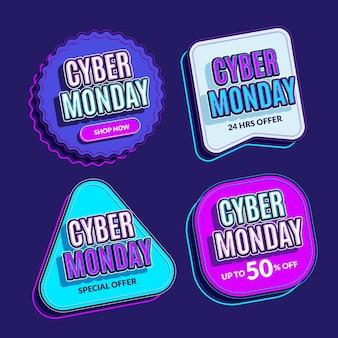 Sammlung von flachen cyber monday-etiketten