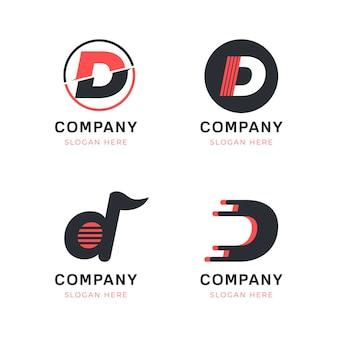 Sammlung von flachen d logo-vorlagen