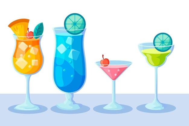Sammlung von flachen design-cocktail
