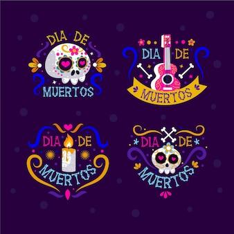 Sammlung von flachen design-dia de muertos-etiketten
