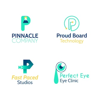 Sammlung von flachen design-p-logos
