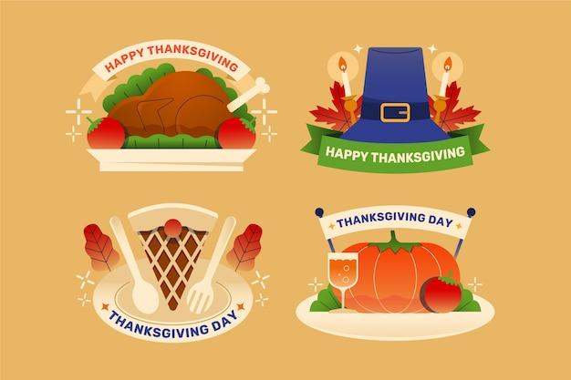 Sammlung von flachen design thanksgiving label
