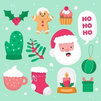 Sammlung von flachen design-weihnachtselementen
