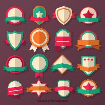 Sammlung von flachen farbigen abzeichen