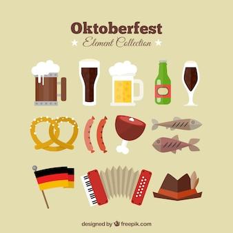 Sammlung von flachen gegenständen oktoberfest
