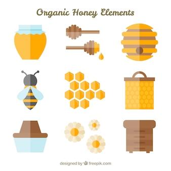 Sammlung von flachen honig element