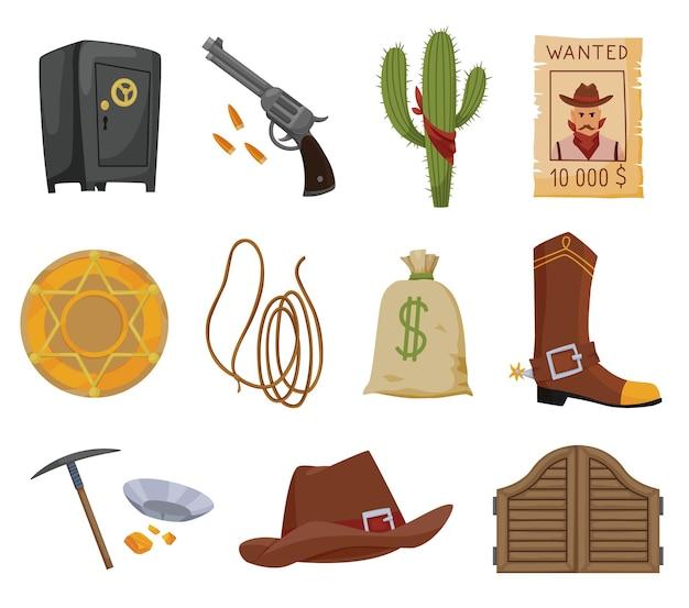 Sammlung von flachen ikonen des wilden westens