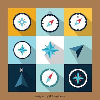 Sammlung von flachen kompass