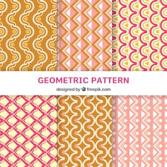 Sammlung von flachen mustern mit geometrischem design