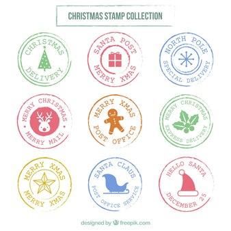 Sammlung von flachen runden weihnachtsmarken