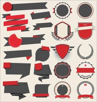Sammlung von flachen schildern abzeichen und etiketten retro-stil
