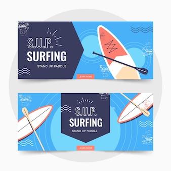 Sammlung von flachen sup-bannern