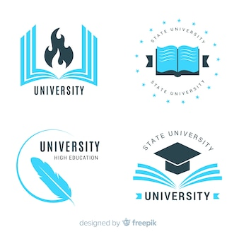 Sammlung von flachen Universitätslogos