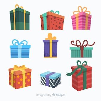 Sammlung von flachen weihnachtsgeschenken