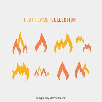Sammlung von flammen in flachem design