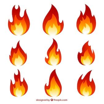 Sammlung von flammen