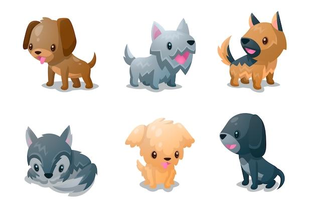Sammlung von flauschigen begleitern von hunden