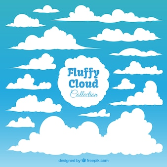 Sammlung von flauschigen weißen wolken