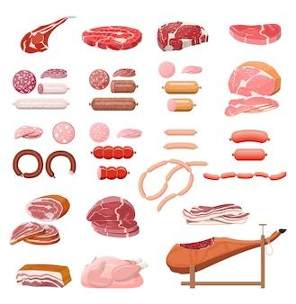 Sammlung von fleisch. hacken, würstchen, speck, schinken. marmoriertes fleisch und rindfleisch. metzgerei, steakhouse, bioprodukte vom bauernhof. lebensmittelprodukte. frisches steak vom schwein. vektorillustration im flachen stil