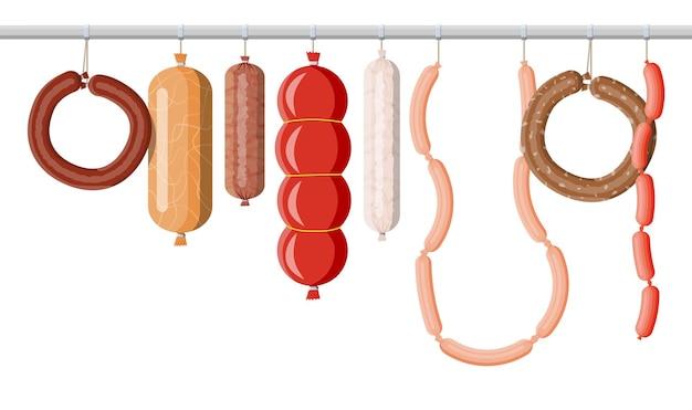 Sammlung von fleischwurst. wurstscheiben mit fett schneiden. gekochtes geräuchertes fleischprodukt. feinschmeckerisches gastronomisches produkt von rind, schwein oder huhn. peperoni oder salami. vektorillustration im flachen stil