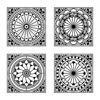 Sammlung von fliesen im vintage-stil. modulares geometrisches design mit dekorativen elementen.