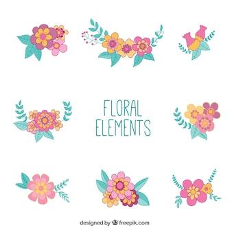 Sammlung von floralen elementen