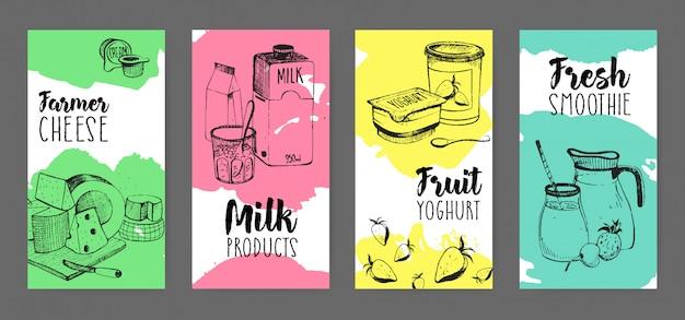 Sammlung von flyern mit werbung für milchprodukte