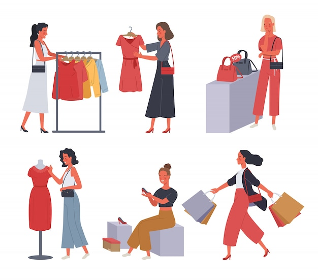 Sammlung von frauen einkaufen. frauen kaufen kleidung, handtaschen und high heels im laden.