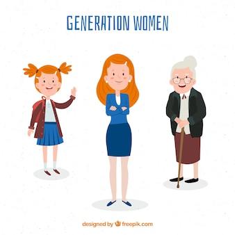 Sammlung von Frauen in verschiedenen Altersstufen