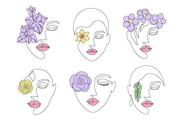 Sammlung von frauengesichtern im online-zeichnungsstil auf weißem hintergrund