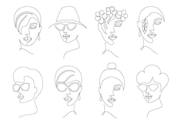 Sammlung von frauengesichtern im online-zeichnungsstil auf weißem hintergrund.