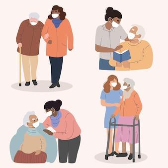 Sammlung von freiwilligen, die älteren menschen helfen