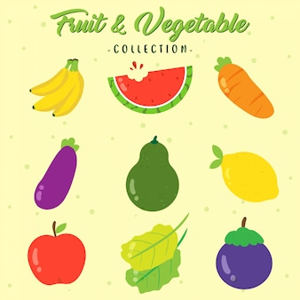 Sammlung von frischem obst und gemüse