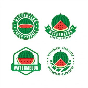 Sammlung von frischen naturproduktetiketten der wassermelonenfarm