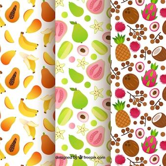 Sammlung von fruchtmustern in flachem design