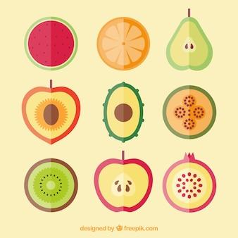 Sammlung von früchten in flachem design Kostenlosen Vektoren