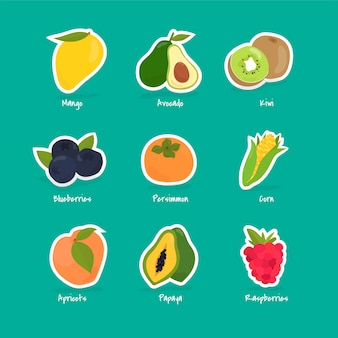 Sammlung von früchten und beeren