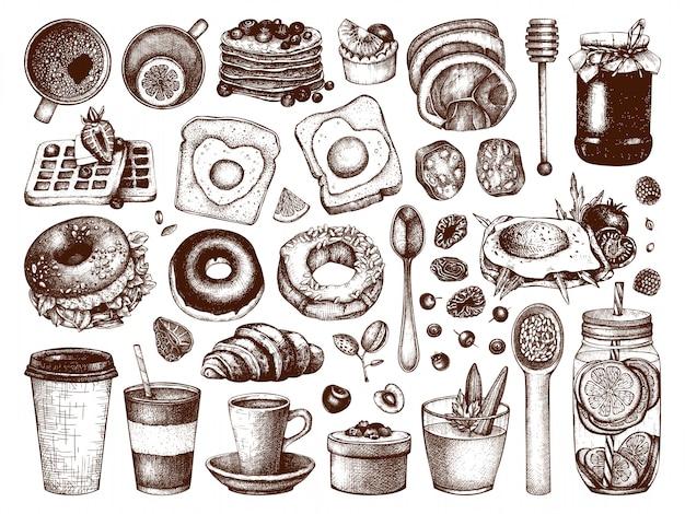 Sammlung von frühstücksgeschirr. hand gezeichnete illustrationen des morgenlebensmittels. menüelemente für frühstück und brunch. vintage handgezeichnete essen und getränke skizzen.