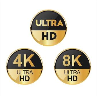 Sammlung von full hd 4k 8k und ultra hd icons