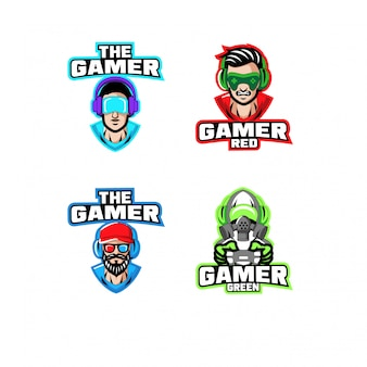 Sammlung von gamer charakter logo icon design cartoon