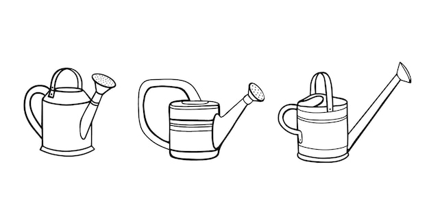 Sammlung von gartengießkannen zum gießen von pflanzen. illustration im doodle-stil, gartenarbeit