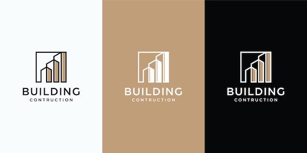 Sammlung von gebäudearchitektur-sets, immobilien-logo-design Premium Vektoren