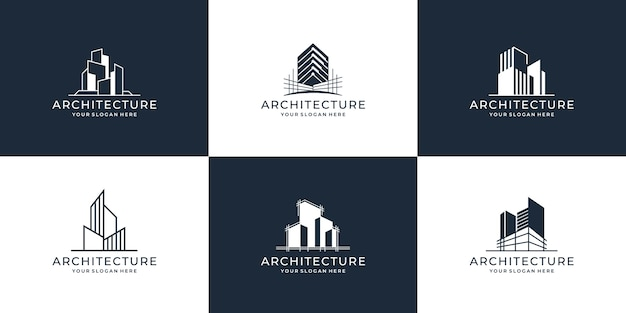 Sammlung von gebäudearchitektur-sets