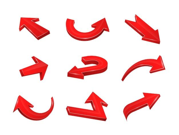 Sammlung von gebogenen, geraden zickzack-websymbolen symbole für cursor oder richtung