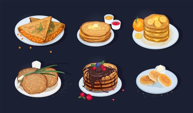 Sammlung von gebratenen pfannkuchen, blini, crpes, syrniki, oladii, die auf tellern mit verschiedenen belägen einzeln auf dunklem hintergrund liegen. köstliche warme frühstücksmahlzeiten. bunte vektorillustration.