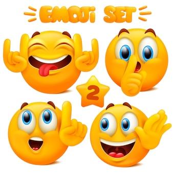 Sammlung von gelben emoji-ikonen emoticon-zeichentrickfigur mit verschiedenen gesichtsausdrücken im isolierten 3d-stil