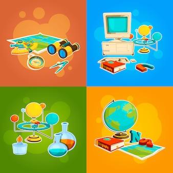 Sammlung von geografie- und wissenschaftswerkzeugen