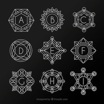 Sammlung von geometrischen formen monogramme